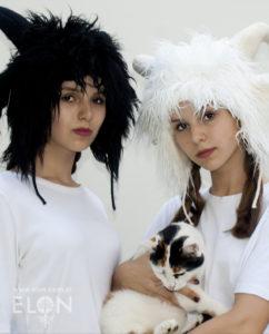 Czapka kozioł (alpaka) biała i czarna