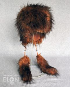 Damska czapka - uszatka - rudy jenot