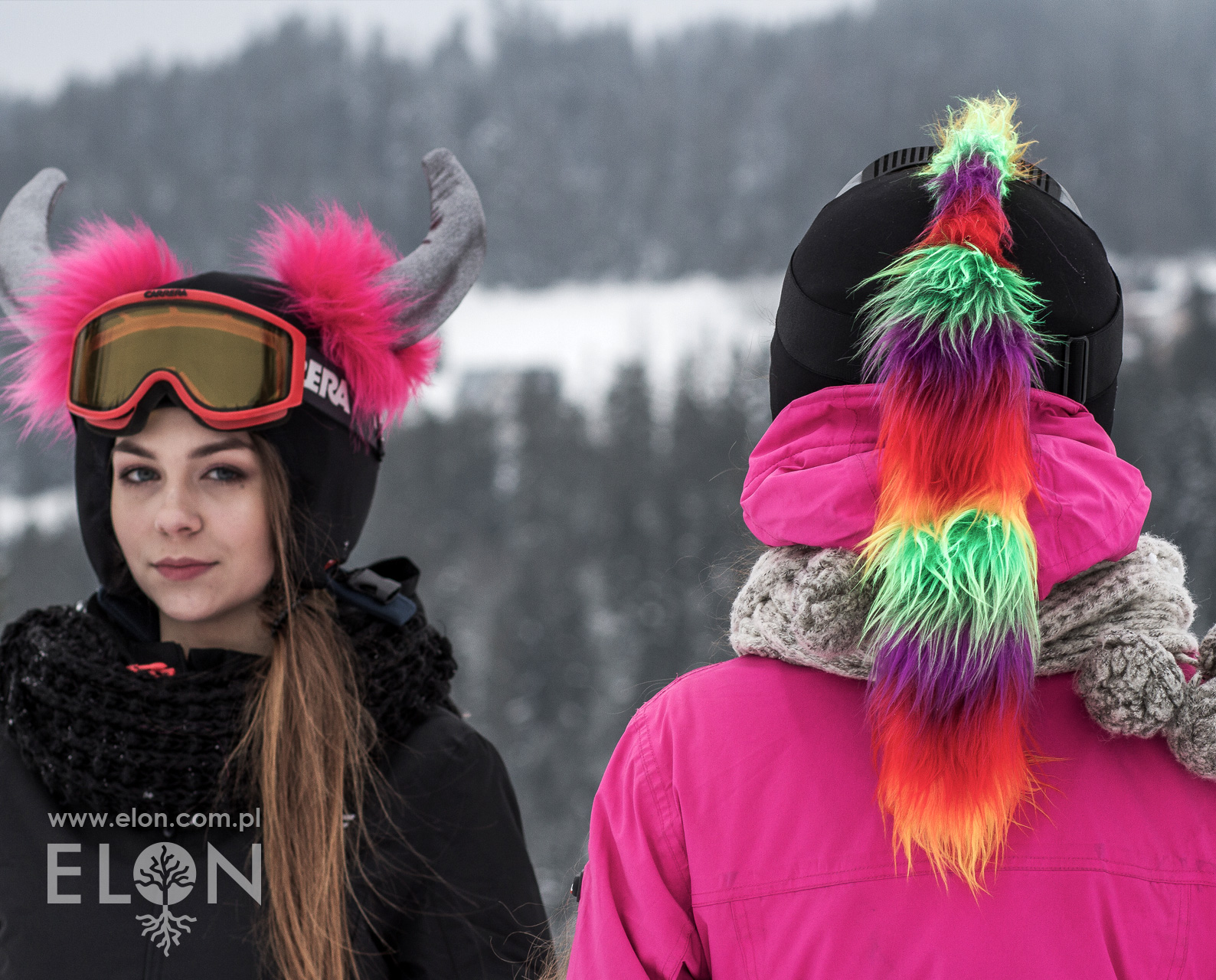Czapka na kask narciarski - Irokez