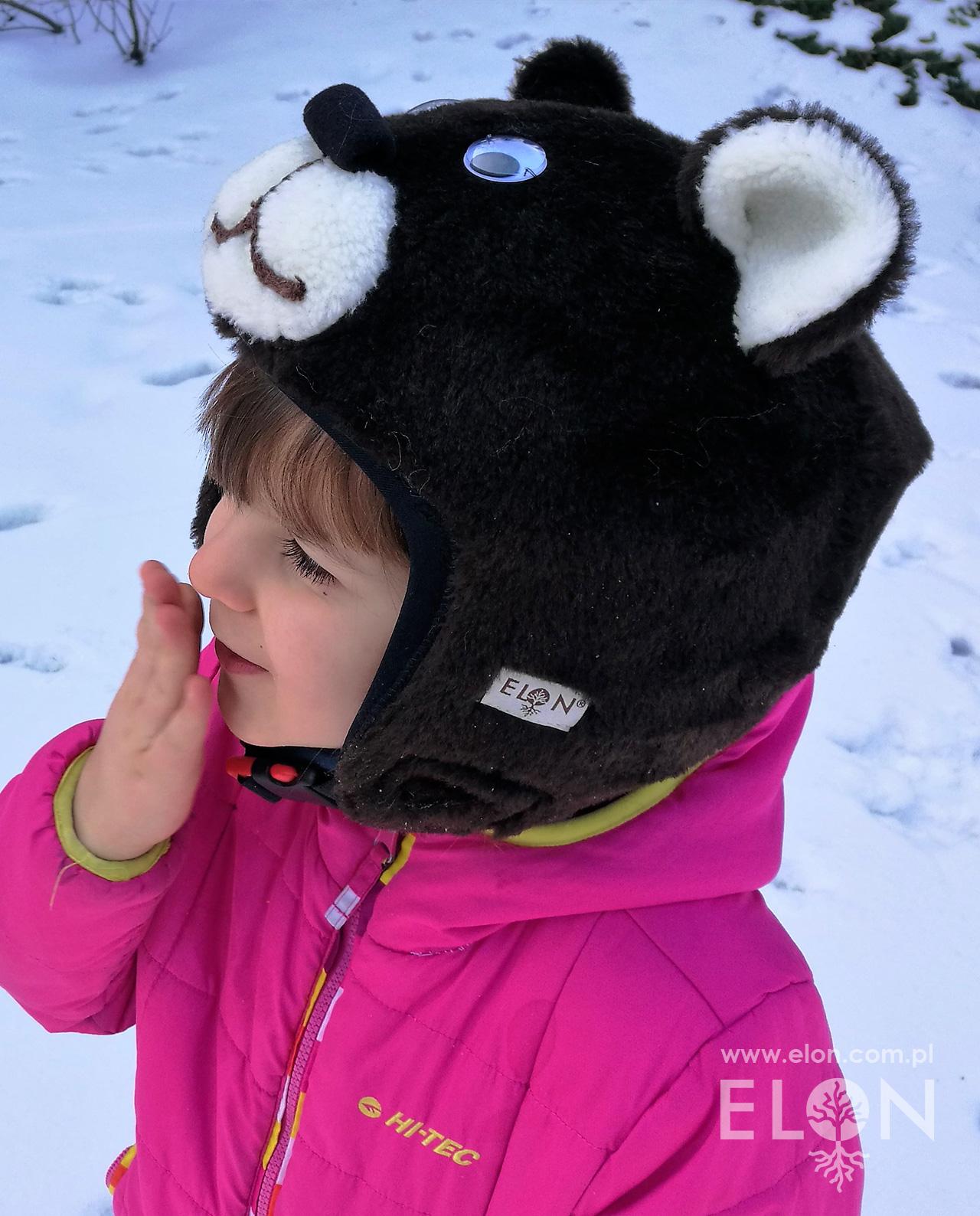 Czapka na kask narciarski - Niedźwiedź