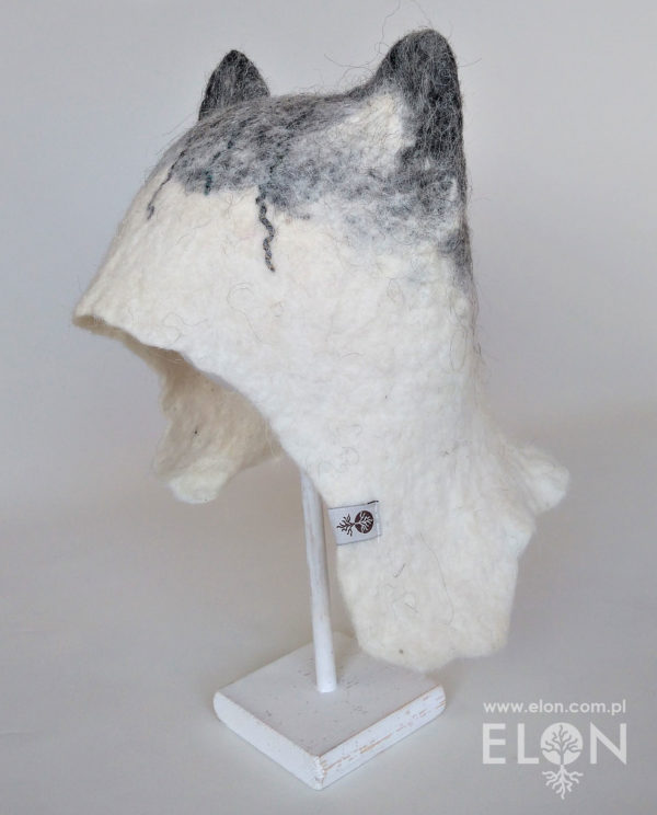 Czapka do sauny Hand Made - Kot biało szary